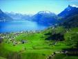Beautiful Swiss village of Beckenried, idyllic at Lake Lucerne