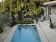 View to pool, courtyard, garden and Boule de Petanque court